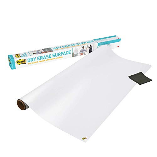 Post-it Dry Erase Whiteboard Film Surface for Walls, Doors, Tables, Chalkboards, Whiteboards, and More, Removable, Stain-Proof, Easy Installation, 6 ft x 4 ft Roll (DEF6X4)