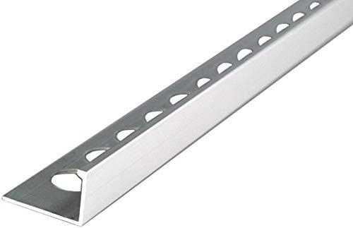 2,5 METER – Höhe: 10mm PREMIUM FUCHS Fliesenschiene Winkelprofil Aluminium Eloxiert silber matt – 1mm Stärke – 250cm Schiene