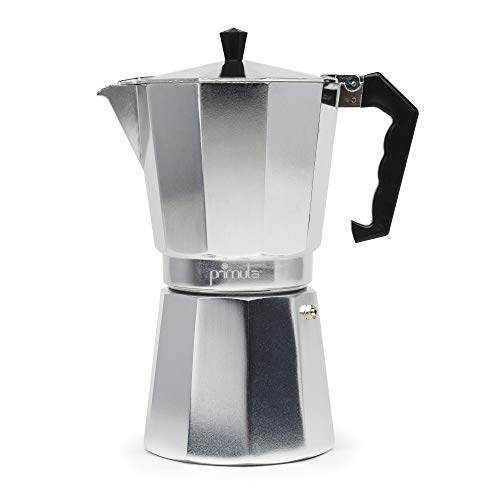 Primula - Cafetera espresso de aluminio para café expreso de cuerpo completo - Fácil de usar - Hace 1 taza, Aluminio, 12 Cups, 1