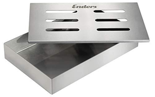 Enders® RÄUCHERBOX EDELSTAHL 8812 Räuchermehl, Räucherchips, Räucherpellets, Grill-Zubehör, Gasgrill BBQ, silber