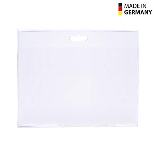50 Stück transparente Kunststoff-Ausweishüllen Made in Germany, im Format 90x60 mm (Querformat) als Schutzhülle für Karten - Kartenhalter - Steckkartenformat aus Soft PVC für Schlüsselbänder/Lanyards