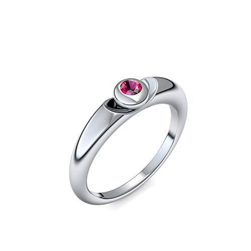 Silber Ring Rubin 925 + inkl. Luxusetui + Rubin Ring Silber Rubinring Silber (Silber 925) - Escape Amoonic Schmuck Größe 56 (17.8) AM15 SS925RUFA56