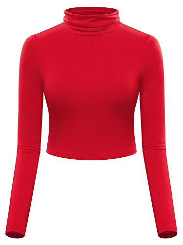 MSBASIC Red Turtleneck Crop Top Fitted Long Sleeve Shirt Red S