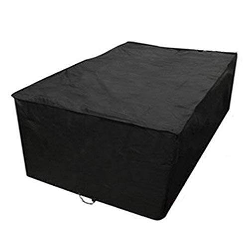 Huolirong Funda Protectora para Muebles Rectangular Impermeable Funda For Mesa For Sillas De Exterior,Negro Muebles De Jardín Funda (Color : Black, Size : 308×138×98CM)