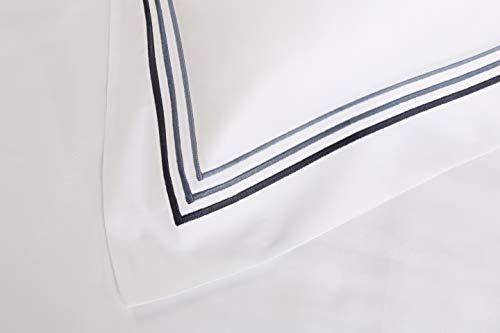 Juego de Sabanas Lineal con Triple Bordon 100% Algodón Satén de 300 Hilos. Bajera Incluida. Todas Las Medidas (Azul Navy, Cama 105/110 CM)