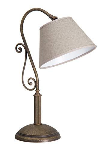 Premium Tischleuchte aus Messing Antik bronziert E27 bis 60W 230V Stoff Nachttischleuchte Schlafzimmer Wohnzimmer Lampe Leuchte innen Beleuchtung Tischlampe
