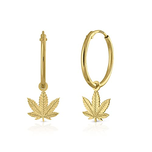 Pendientes Oro de Ley Certificado/Niña/Mujer. Aro con marihuana tallada. Medida 10 mm (1-3470-AT10-8)
