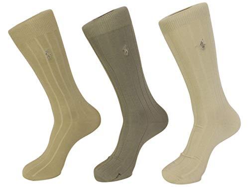 Polo Ralph Lauren mens socks Dress Mercerized Rib Cotton khaki asst. 3pairs