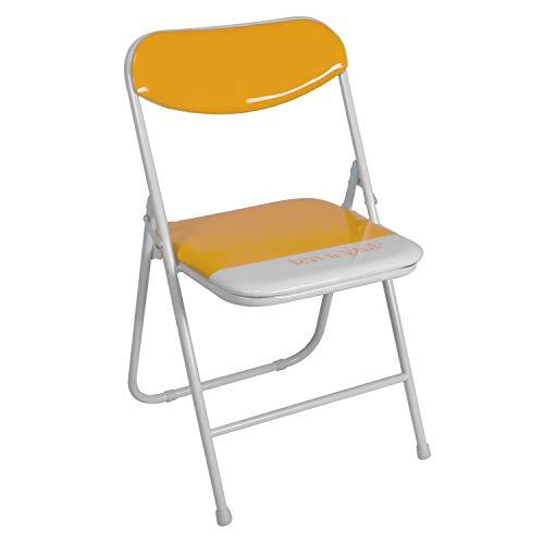 duehome (Candy) Pack 4 sillas Plegables Estructura metálica y PVC Brillante 47x46x76 cm de Altura (Naranja)