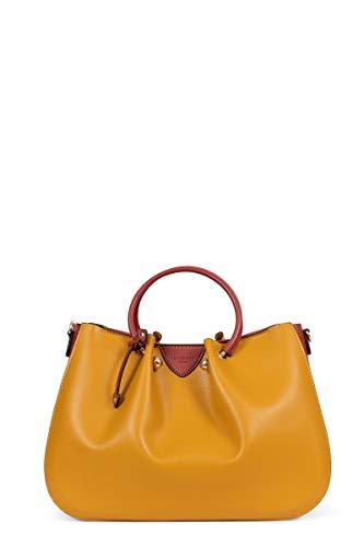 Hexagona ODE Handtasche mit 2 Griffen, Gelb - Senf/Cognac. - Größe: L : 34 x h : 24 x P : 15 cm
