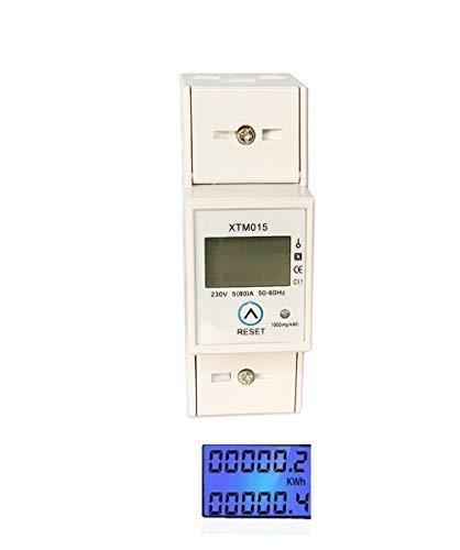 JVJ Wechselstromzähler 5(80) A 230V Stromzähler rücksetzbare Hintergrundbeleuchtung 1 Phase 2P Wattmeter KWH 50-60HZ Hutschiene Energiezähler LCD