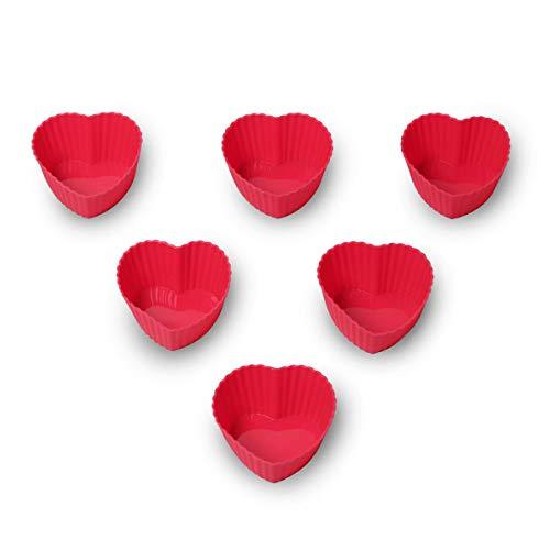 4BIG.fun 6 pirottini per muffin, in silicone, riutilizzabili, a forma di cuore