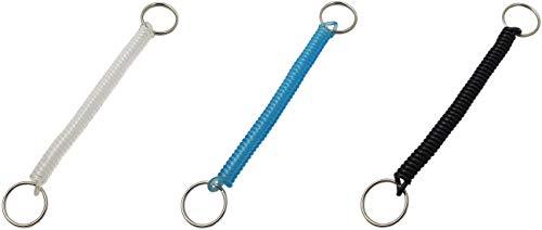 1 Stück Schlüsselanhänger aus flexiblem dehnbaren Spiralkabel / Spiralband / Schlüsselhalter mit zwei Schlüsselringen in 3 Farben (Schwarz)