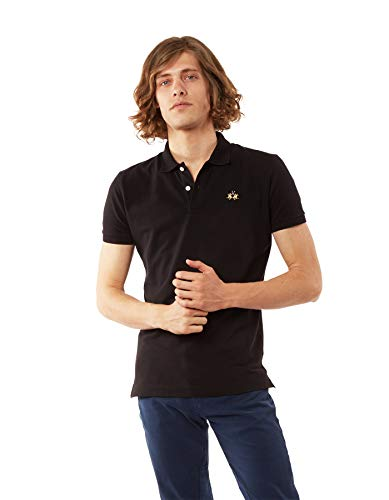 La Martina Herren Man Polo S/s Piquet STR Poloshirt, Schwarz (Black 09999), Large