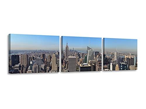 Foto Canvas Cuadro Nueva York | Cuadros Decoración Salón Modernos New York Lienzos Decorativos - Decoración Pared | Cuadros New York 3 Piezas - 126 x 30 cm sobre Bastidor de Madera Listos para Colgar
