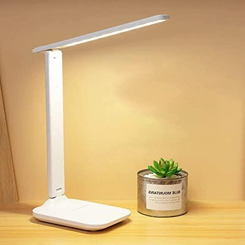 Lámpara de escritorio LED, lámpara de mesa regulable, interruptor táctil, 3 colores y 10 niveles...