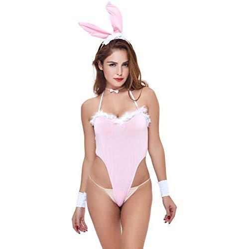 FONXOS Sexy Donna Costume da Infermiera con Scollo A V da Donna Set Cosplay Sexy Erotico Uniforme Vestito da Tentazione Sesso Donna Coniglietta Abbigliamento Donna-Rosa_Taglia ^