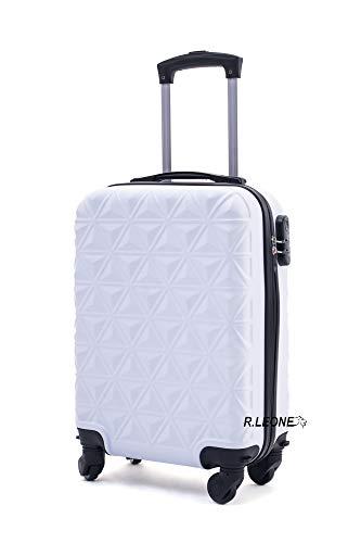 R.Leone Valigia Trolley Bagaglio a mano Rigido Ultraleggero in ABS 4 Ruote Autonome 1601 (Bianco)