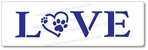 Plantilla para amantes de las mascotas con estampado de huellas de amor, 22 cm x 8,5 cm
