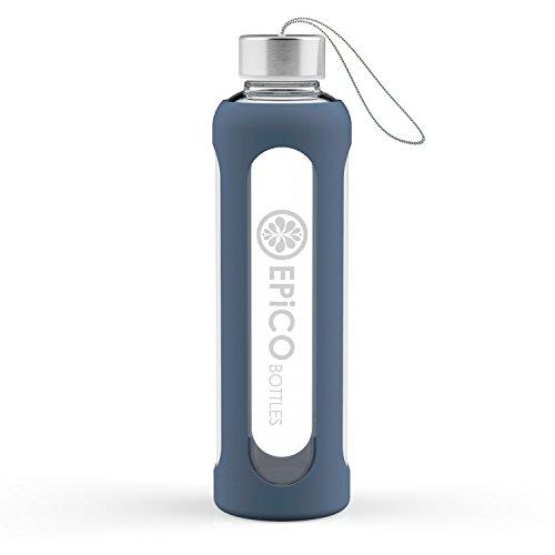 Glasflasche/Trinkflasche EPiCO BOTTLES Sport Trinkflasche Glas 550ml Wasserflasche mit Silikonhülle für unterwegs - Fitness Water Bottle für Yoga, Wandern - BPA Frei