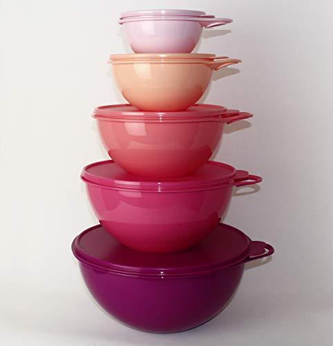 Maximilian Schüssel Tupperware 7,5L Pink + 4,5L Erdbeer + 2,75L Lachs + 1,4L Apricot + 600ml Rosa + Ergonomica 1,3L Lachs