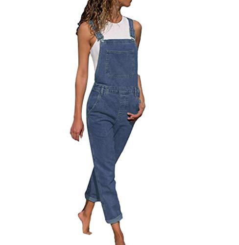 Damen Jeans, Tomatoa Damen Latzhose Latzjeans Jumpsuit Overall Hüftjeans Röhrenjeans Jeanslatzhose Overall Denim Jeans Overall Ärmellos Sommerhose Pants