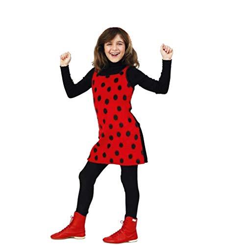 KarnevalsTeufel Kinderkostüm Sweet Mary Kleid in rot mit schwarzen Pünktchen weicher Plüschstoff Marienkäfer Käferchen Glückskäfer Ladybug Gr 104 - 128 (128)