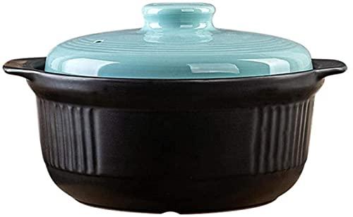 ksamwjf Plato para cazuela Platos para cazuela con Tapa - Cazuela de Sopa para el hogar Olla de Sopa Resistente al Calor de Gran Capacidad Olla para estofado de gachas de Avena S