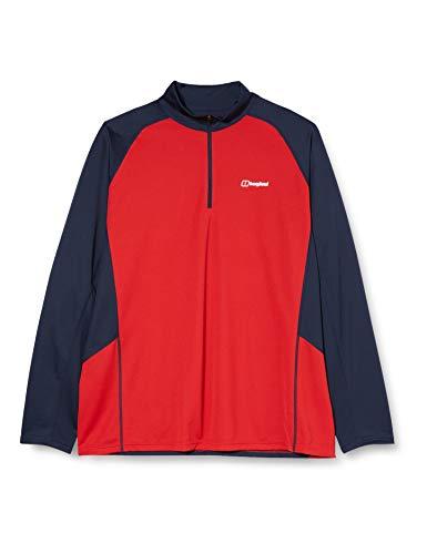 Berghaus T-Shirt Tech 2.0 pour Homme (Manches Courtes/Manches Longues/Fermeture à glissière). XXL Rouge/crépuscule.