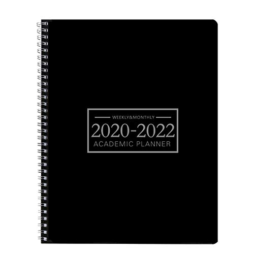 Academic Planner 2020-2022 Weekly 9 by 11 Inches Time Management Hard PVC Cover with Wire Spiral Bound