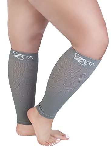 Zeta Sleeve XXL Wide Plus Size Calf Compression, Soothing Comfy Gradient Support, Prevents Swelling, Pain, Edema, DVT, Large Cuffs, Stretch to 26 Inches, Unisex, for Nurses, Seniors, Flights (Grey)