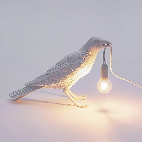 MEILINL Lámpara De Mesa De Espera con Forma De Pájaro, Lámpara De Escritorio De Cuervo De Resina Lámpara De Noche Aplique De Pared con Interruptor Y Enchufe,Blanco,2