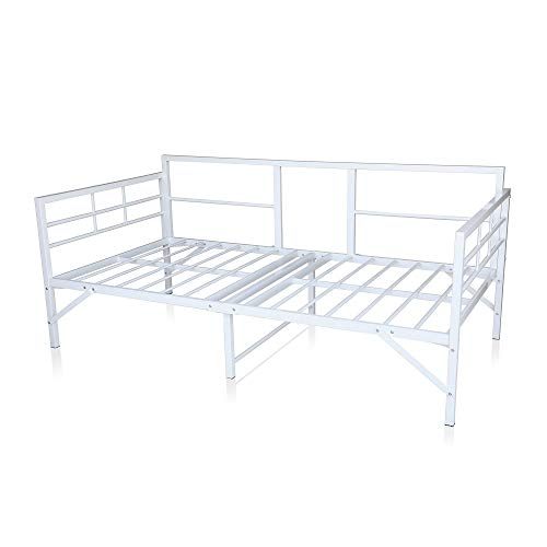 Best Price Mattress Easy Set-up Daybed Twin, White - 100% Steel Construction. Sofa/Sleeper Featuring Strong, Sturdy and Durable Steel slats/Modern Minimalistic Design