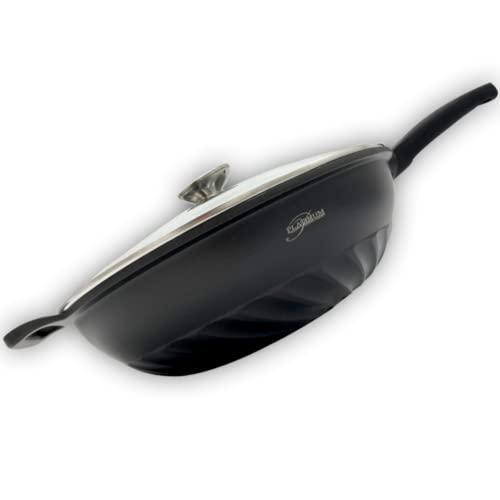 Platinum Wok con tapa de 32 cm de diámetro, apta para todo tipo de fuegos, sin PFOA, para inducción, base plana, antiadherente, revestimiento resistente a los arañazos, tapa de cristal, color negro