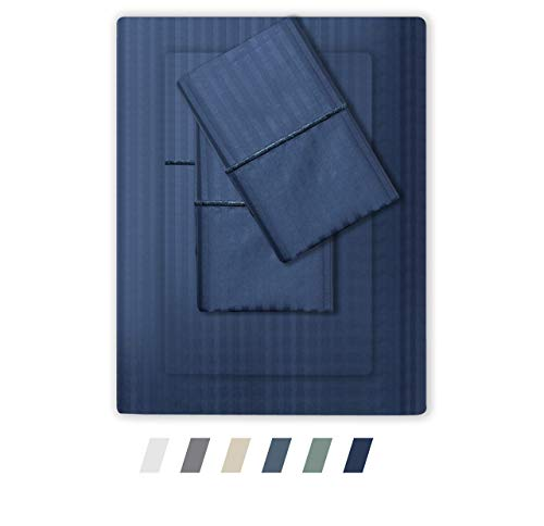 Feather & Stitch 500 Thread Count Queen Size Cotton Sheets 4 Piece Damask Stripe Sheet Set 18 Inch Deep Pocket Sateen Weave Striped Sheets with 2 Pillowcases Luxury Bedding Dark Blue