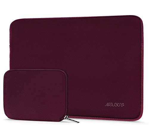 MOSISO Wasserabweisend Neopren Hülle Sleeve Tasche Kompatibel mit 13-13,3 Zoll MacBook Pro, MacBook Air, Notebook Computer Laptophülle Laptoptasche Notebooktasche mit Kleinen Fall, Weinrot