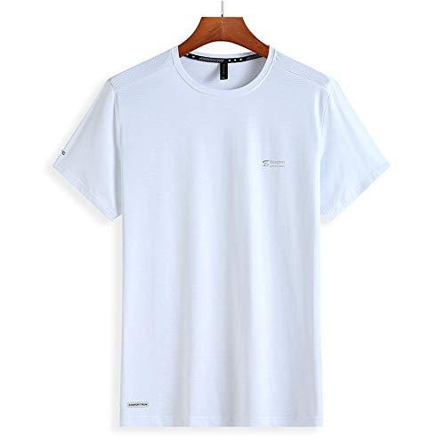 JRKJ Funktionsshirt mit Loser Passform,Sommer EIS T-T-Shirt Herren Kurze Ärmel, sowie Fett Plus Größe Sport schnell trocknende Kleidung-weiß_7XL,Kurzarm