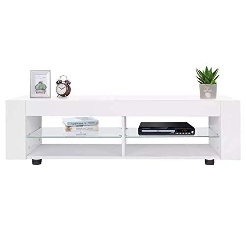 N/Z Equipo para el hogar Mueble de TV Soporte de TV Mueble de TV de Alta luz con luz LED Mueble de TV Moderno Gabinete de Consola Multimedia Soportes de TV (Color: Blanco Tamaño: 134x39x29cm)