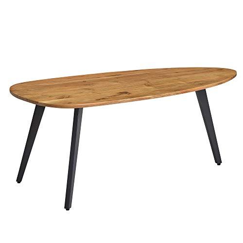 FineBuy Couchtisch Akazie Massivholz 110 x 45 x 60 cm Wohnzimmertisch Nierenform | Sofatisch Modern Holztisch | Tisch Wohnzimmer Holz/Metall