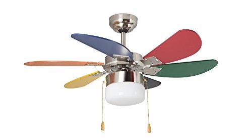 Orbegozo CC65085 Ventilateur de plafond avec lumière, 6 pales multicolores, diamètre 85 cm, puissance 55 W et 3 vitesses