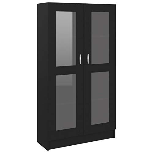 Tidyard Vitrina de aglomerado Librerías de salón Armarios y aparadores de Comedor Negro 82,5x30,5x150 cm