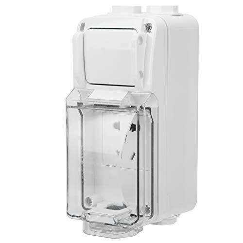 Enchufe de pared para exteriores de 250 V, caja de interruptor impermeable de 3 orificios Enchufes eléctricos sin orificios para balcón, jardín, baño, cocina