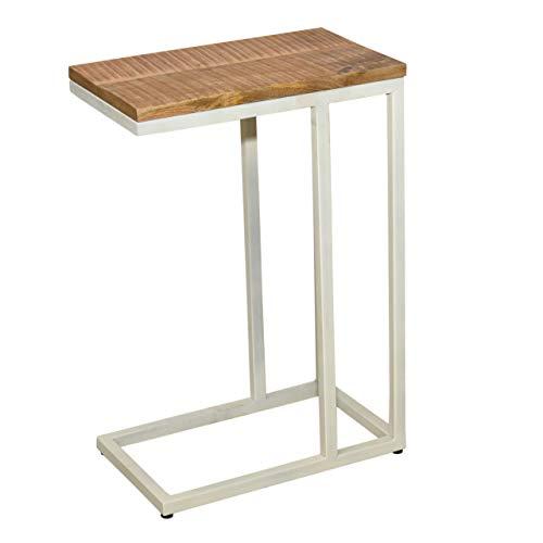 Soma Liverpool, tavolino da divano, per computer portatile, 40 x 60 x 25 cm, struttura in metallo, colore nero o bianco, 40 x 60 x 25 cm, colore bianco puro