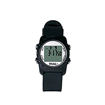 WobL+ World's Smallest & Best Waterproof Vibrating 9 Alarms + Countdown Timer Wristwatch (Black) Sports/Medicine/Meeting/Potty Reminders