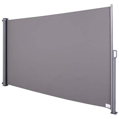 Outsunny Store latéral Brise-Vue paravent rétractable dim. 3L x 1,80H m alu. Polyester Anti-UV Haute densité 280 g/m² Gris