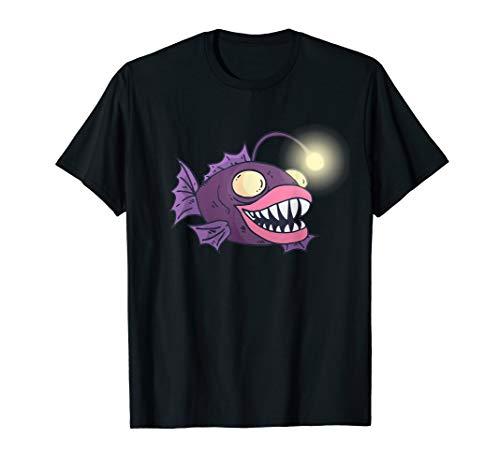 Fisch Meerestier Tiefsee Anglerfisch Laterne T-Shirt Kind