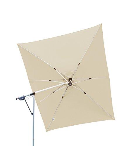 Derby Doppler Hochwertiger Ampelschirm Sun Line Pendel 300 x 220 in Natur, schwenkbar, 360 Grad drehbar, UV-Schutz 50 Plus, inklusive Ständer und Schutzhülle