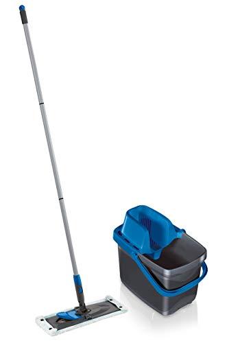 Leifheit Set Combi Clean, seau et balai essoreur faciles d'utilisation, balais serpillière avec mécanisme d'essorage intégré, kit de lavage sol Color Edition Bleu