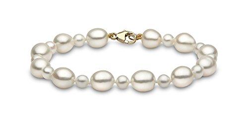 Kimura Pearls FR80/FS5007 - Bracciale da donna, oro giallo 9k (375), 184 mm