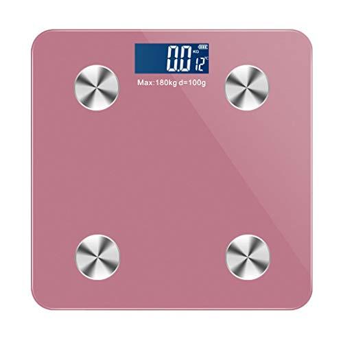 JINJIN Digitale Bluetooth Körperfettwaage Personenwaage wiegende Skala Echtzeit-Anzeige der Innentemperatur Fettmeßgeräte mit Smartphone App (Color : Pink)